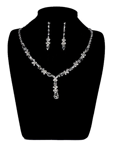 [UDORA Rhinestones Necklace Earrings Jewelry Sets for Wedding Bridal Party (t1214)] (Necklaces And Earrings)