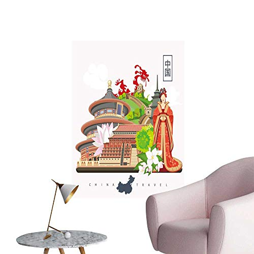 SeptSonne Wall Art Prints China Travel Chinese Set Architecture Foo Costumes Traditional for Living Room Ready to Stick on Wall,24
