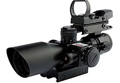 WANGPAI 3 in 1 Combo Scope, 4 Reticle Green&Red Dot Sight on Top with 2.5-10x40 Rifle Scope and Red Laser, 22mm & 11mm Easy Changed Rail Mount (Free Warranty) by Spike