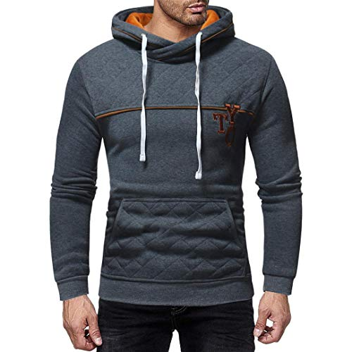 Yuxikong Mens' Top Blouse,Long Sleeve Plaid Pocket Hoodie Hooded Pullover Sweatshirt Outwear Tops (Gray, XL) by Yuxikong