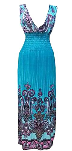 Casual Dress Sleeveless Maxi Jaycargogo Dress Maxi Neck 13 Womens Boho V q767YTz