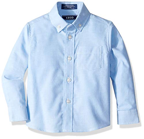 IZOD Boys' Toddler Long Sleeve Solid Button-Down Oxford Shirt, ox Blue ()