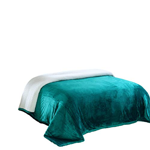 Chezmoi Collection Micromink Sherpa Reversible Throw Blanket (Queen, Teal)