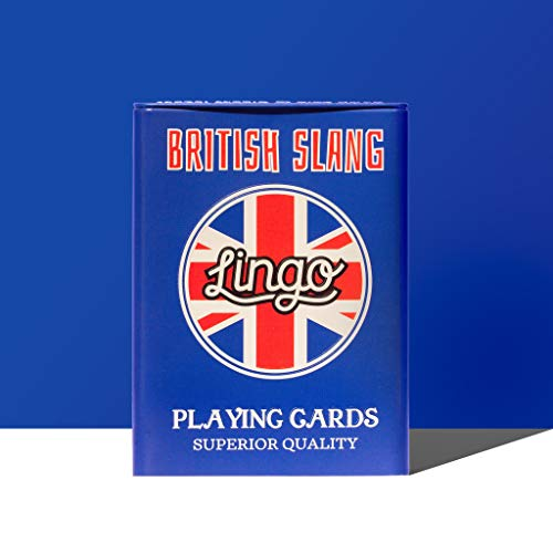 (Lingo Slang Playing Cards in Tin Box | Travel Case Playing Cards | Language Learning Game Set | Fun Visual Flashcard Deck to Increase Vocabulary and Pronunciation Skills (British Slang))