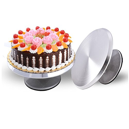 Round cake revolving turnable 12 inch stand with icing spatula & decorating comb, non slip rubber base, durable aluminum, rotating & locking mechanism.