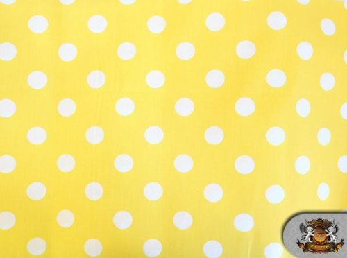 Polycotton Printed POLKA DOTS WHITE YELLOW BACKGROUND Fabric By the Yard ()