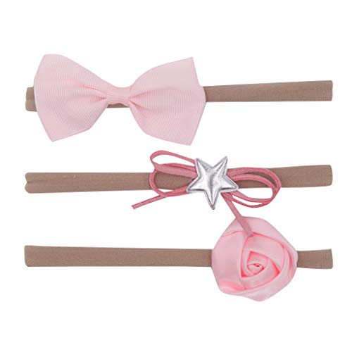 (Zohto Clearance:Lovely Girls Hairband Price,Infant Baby Bow Knot Kids Accessories Pink Flower Pentagram Hair Accessory 3Pcs Set)