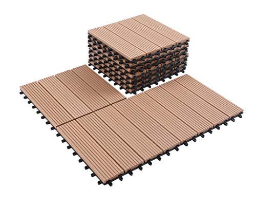 GOLDEN MOON Deck Tiles Interlocking Wood-Plastic Composites Patio Pavers 1x1FT 10 Pack Brown by GOLDEN MOON (Image #8)