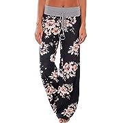 Necooer Women's Floral Print Drawstring High Waist Wide Leg Comfy Lounge Pants