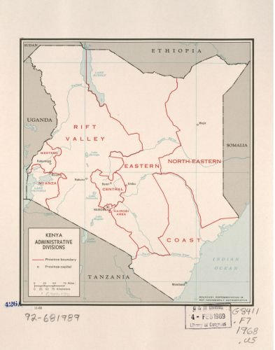 Amazon.com: 1968 Map Kenya, administrative divisions. - Size ...