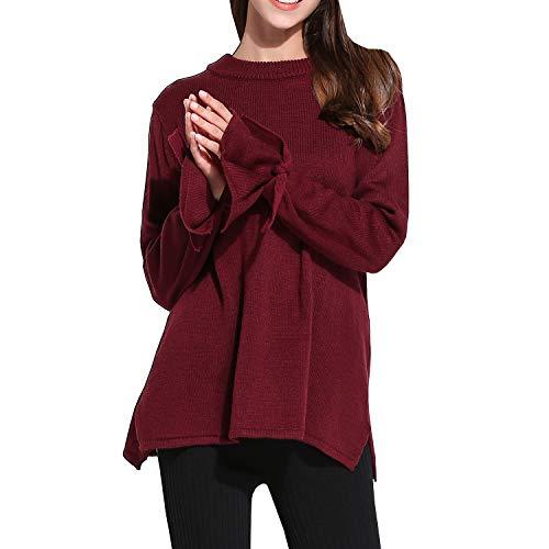 Girl Manche Rouge YJ031 Femme E Col Longue Tricot Pull Vrac en Sweater Doux Rond pxdOnOqB
