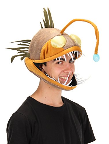 elope Light Up Anglerfish Costume Hat for Kids and Adults Brown -