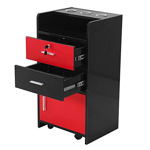 PrettyDate Salon Wood Rolling Drawer Cabinet Trolley Spa 3-Layer Cabinet Equipment with A Lock Black & Red