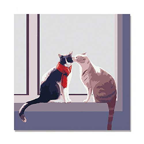- aoyuff Painting by Number Two Cats Owl Cat Animals Hand Painted On Canvas Digital DIY Oil Painting by Numbers Wall Decor