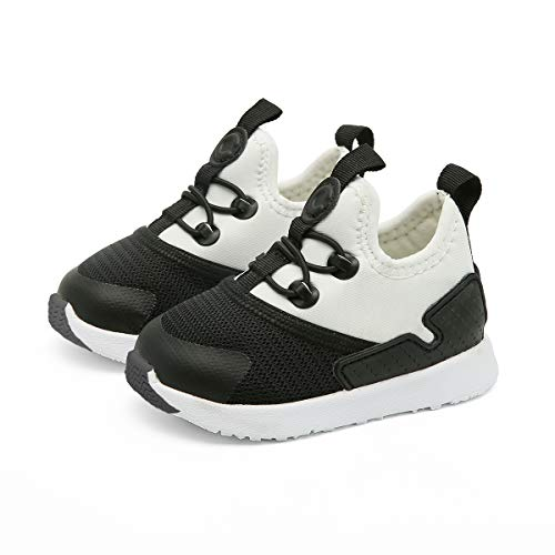 (CRTARTU Baby Shoes Boys Girls Prewalker Shoes Baby Sneakers Anti Slip Toddler Shoes Flexible to 0-5 Years Old Baby Walking Shoes, Black and White, Running Shoes)