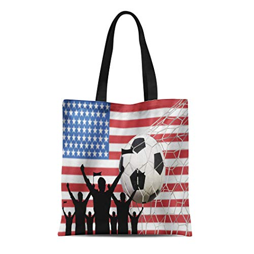 Tinmun Canvas Tote Bag Reusable American Silhouettes of Soccer Fans Flag Usa Cheer Ball Shoulder Grocery Shoulder Bag Handbag Printed