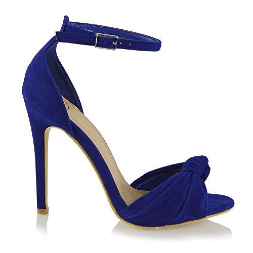Nuziale Finto Tacco Alto Cinturino GLAM Toe Caviglia Peep ESSEX alla Azzurro Sintetico Scamosciato Donna Sandalo qvOnX