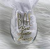 BAE Best Auntie Ever 15 Ounce Stemless Wine Glass, Gift For Aunt, Gold Metallic, Premium Permanent Indoor Outdoor Vinyl