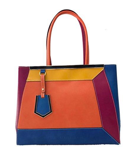Superflybags Borsa A Spalla O A Mano In Vera Pelle modello Capri Lux Made In Italy arancione-blu