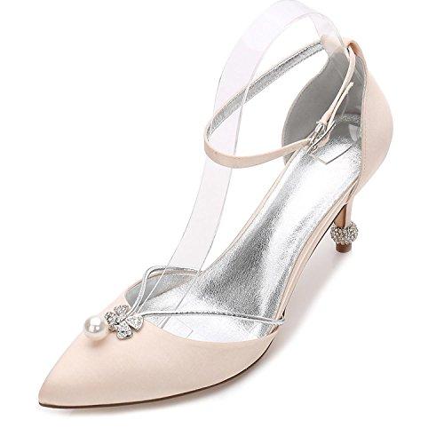 L@YC Zapatos de Mujer Primavera Verano Tacones de Caídas Puntiagudos Lentejuelas Para Bodas Oficina y Carrera Fiesta y Noche/Marfil Champagne