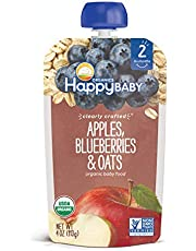 Happy Family Organics Stage 2 Baby Food Contains Apples Blueberries Oats Resealable Pouch Non GMO Gulten Free 113g, 1 Pack