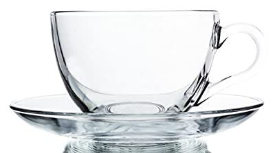 Acapella Classic Clear Glass Tea & Coffee Cups with Saucers, Set of 6 - 6.75 oz