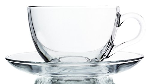 Buy clear glass cup and saucer