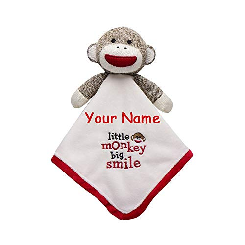 (Baby Starters Personalized Sock Monkey Red and White Little Monkey Big Smile Snuggle Buddy Baby Blanket with Plush Animal with Custom Name)