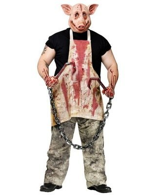 Scary Halloween Costumes For Men (FunWorld Pork Grinder Adult Pig Costume, Tan, One size)