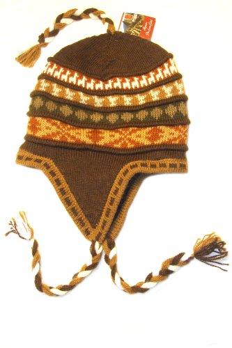 New Peruvian Earth Tones Alpaca One Size Lined Chullo Ski Hat Flap Cap Hand -