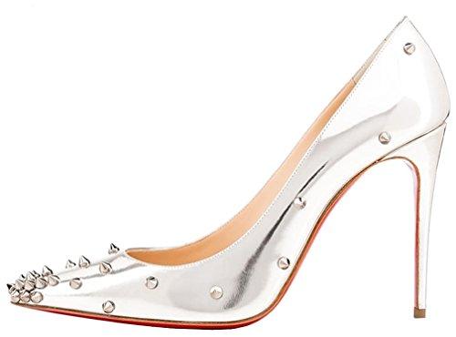 Calaier Damen Casnowy 12CM Stiletto Schlüpfen Pumps Schuhe Silber