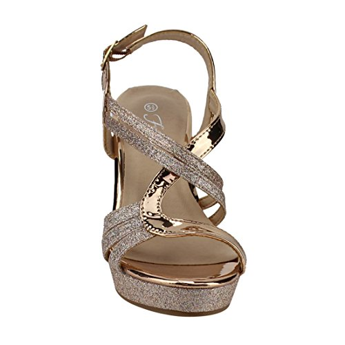 FQ22 Rose Sandals Women's Heel Wedge Glitter Platform Forever Gold Wrapped Strappy xAdqHZ1w