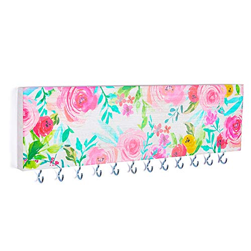 Basumee Jewelry Organizer Wall Mounted for Girls Necklace Holder Wooden with 12 Metal Hooks, Pink Floral (Girls Necklace Holder)