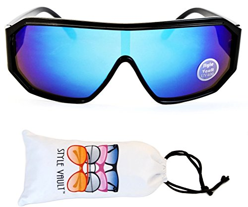 A141-vp Style Vault Turbo Sunglasses (RV Black-Blue Mirror, - Randy Sunglasses Savage