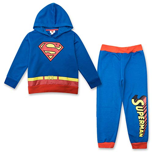Superman Toddler Boys Jogger Set - DC Comics Hoodie & Sweatpants Set (Blue/Red, 3T) -