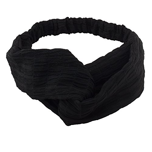 Xanthys & Co Solid Color Headwrap Ever-Stylish Headband Charismatic Hair Band (Black) (Hand Right Plain Finish Color)