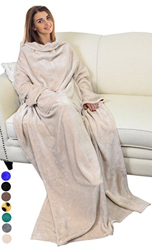 "Catalonia Wearable Blanket with Sleeves and Pocket, Soft Fleece Mink Micro Plush Wrap Throws Blanket Robe for Women and Men 73"" x 51"" Latte"