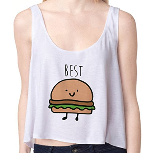 Sasairy - Camiseta sin mangas para mujer, estilo casual para verano, talla EU 34/38, varios diseños en múltiples colores Weiß-003