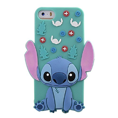 iPhone 5C Silicone Case,Emily Fashion Super Cute 3D Cartoon Character Outer Space Mint Alien Dog Protective Silicone Back Case Cover for iPhone 5C