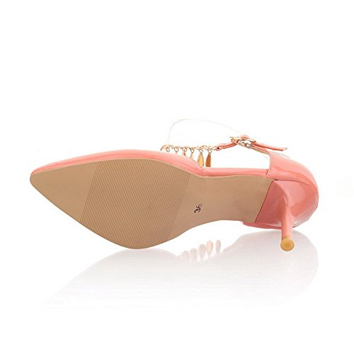 BalaMasa Ladies Metal Chain Fashion Patent Leather Sandals Pink FkAHL2ds