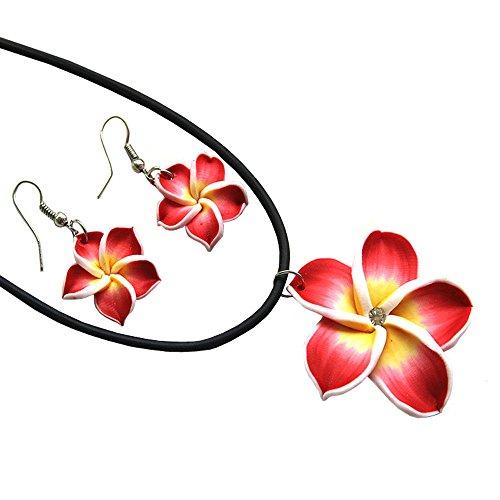Donau Plumeria Fimo Flower Earring Pendant Necklace Jewelry Set 6Colors (Plumeria Clasp Necklace)