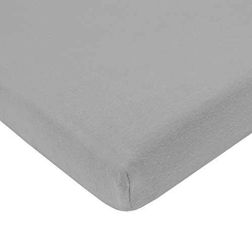 TL Care 100% Natural Cotton Value Jersey Knit Fitted Pack N Play Playard Sheet, Gray, Soft Breathable, for Boys and Girls