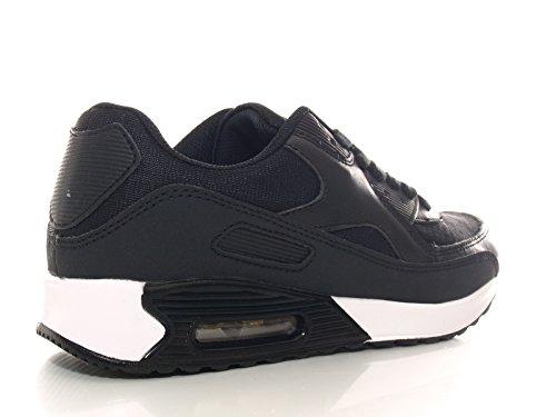 Unisex Damen Herren Laufschuhe Schnür Sneaker Sport Fitness Turnschuhe Schwarz # 1134