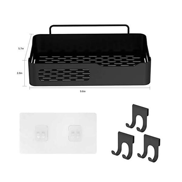 41IT0vJ4gPL Duschkorb Duschregal schwarz Duschablage ohne Bohren, selbstklebend mit Haken aus Edelstahl Metall als Duschhalterung…
