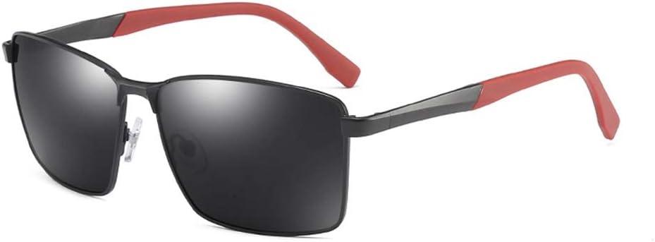 LVYY Gafas de Sol polarizadas for la Personalidad de los Hombres al Aire Libre del Montar a Caballo vidrios Cuadrados Frontera Moda So Cool 1 Par (Color : Black/Gray)