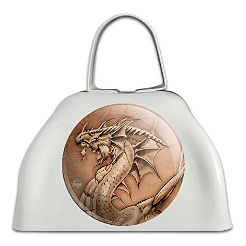 Dragon Parchment Fantasy White Metal Cowbell Cow Bell Instrument