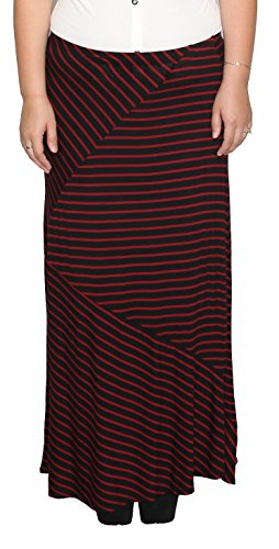 Libian Jr Plus Size Classic Everyday Wear Diagonal and Stripped Long Maxi Skirt (BLACK/RED, 2X)