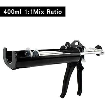 Manual Double Epoxy Gun 400 mL/13.5 fl oz (1:1 Mix Ratio) Dual Component Applicator for Panel Bond 2 Part Cartridge Caulking Gun (Obsidian Black)