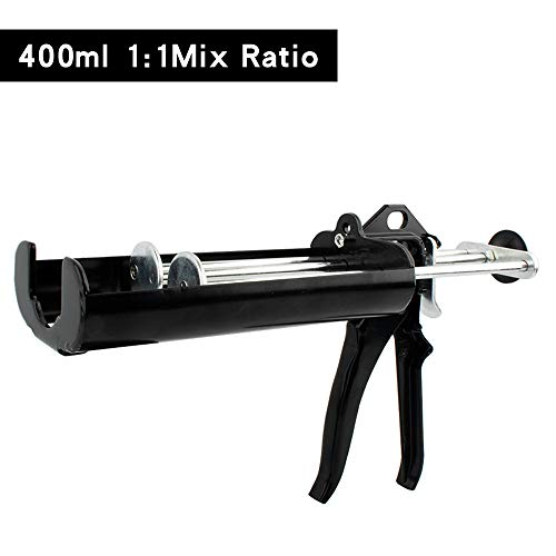 Manual Epoxy Applicator Gun 400 mL/13.5 fl oz (1:1 Mix Ratio) Dual Component Adhesive Cartridge Applicator Double Caulk Gun 2 Part Caulking Gun, 26:1 High Thrust Ratio (Obsidian Black)
