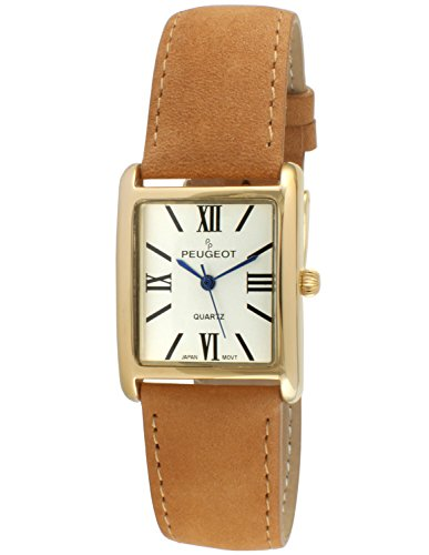 Peugeot Women's 14K Gold Plated Tank Leather Dress Watch with Roman Numerals Dial, Tan